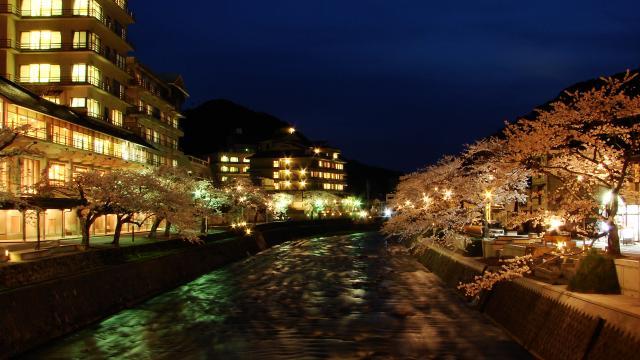 あつみ温泉温海川河畔桜並木