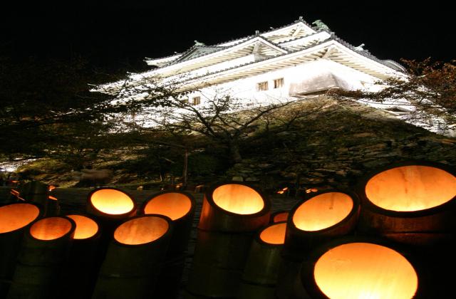 和歌山城天守閣と竹灯篭