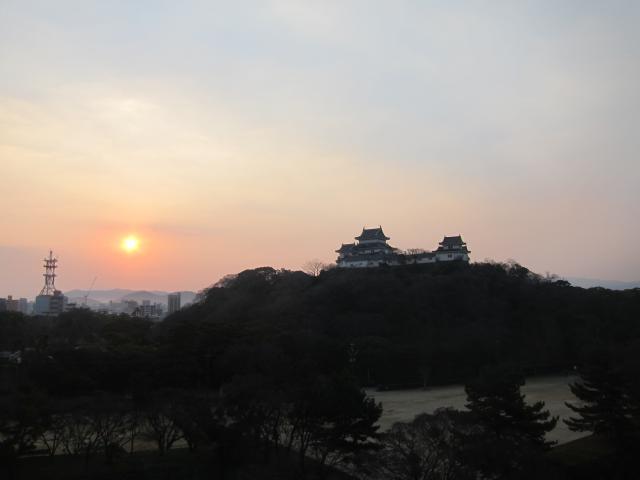 在和歌山城城堡元旦日出