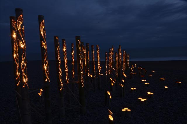 琴ヶ浜 竹灯りの宵