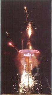 富岡的唐傘燈籠煙火