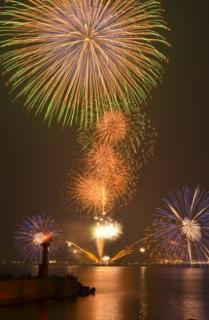 Kasumi oldness and festival sea fireworks display