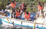 長島海峡の遊漁船